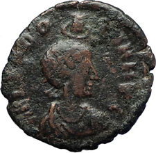 EUDOXIA Arcadius Wife 401AD Authentic Ancient Roman Coin VICTORY CHI-RHO i69911