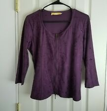BiBA LONDON INCREDIBLE ZIP UP SHIRT Size 2 Worn Once BIBA EUC Plum Floral Motif
