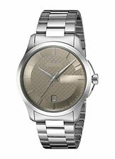 Gucci Unisex 38mm Steel Bracelet & Case Quartz Brown Dial Watch YA126445