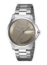 Gucci Unisex 38mm Steel Bracelet & Case Quartz Brown Dial Watch YA126445