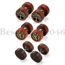 6pcs Retro Life Tree Stainless Steel Wooden Dumbbell Women Men Ear Stud Earrings