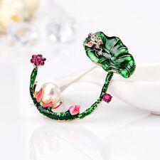 Alloy Simulated Pearl Lotus Flower Enamel Brooch Pin Women Garment Accessories