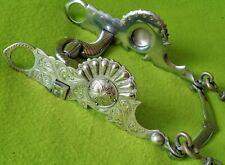 STUNNING Vintage Hand Engraved STERLING Silver Show BIT~CARMEL Cheek~CHAINS~NR