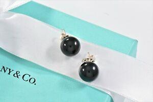 Tiffany & Co Sterling Silver Onyx Bead Stud Earrings & Box Pouch Ribbon Black