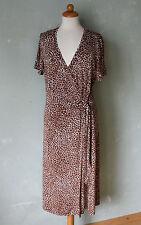 Frank Walder Kleid Sommerkleid Wickelkleid braun weiss V-Auschnitt Gr 38 M (K2)*