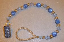 Light Blue Shamballa Sparkle Romany Crystal Bling Baby dummy pacifier clip chain