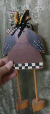Folk Art Primitive Crow Lady Woman with Bonnet Hand-painted Wood Signed Vintage
