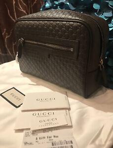 New Gucci Men's 419775 Dark Brown Leather Micro GG Guccissima Large Toiletry Bag