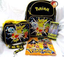 "Pokemon Pikachu 16"" Backpack,lunchbox,Pokemon Pencils,Pokemon Lanyard, & Folder"
