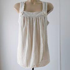 Allen B Women's Blouse Medium Casual Sleeveless Shirt Top Ivory White Flower D3