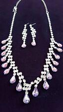 Princess Bride Wedding Necklace & Dangle Earring Purple Rhinestone Bridal Bling