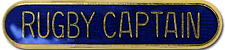 Rugby Captain Pin Badge in Blue Enamel With Rounded Edge