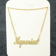 """ Aquarius "" ZODIAC Pendant Necklace Triple Plated Metal Necklace N1119A Gold"