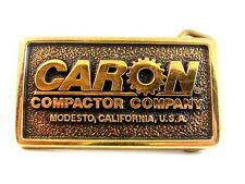 Vintage Caron Compactor Company Modesto CA Solid Brass Belt Buckle Made in U.S.A