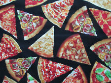 Pizza Slices Snacks Food Cotton Fabric FQ