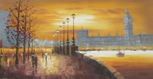 colourful London Big Ben large long oil painting canvas city England British 1