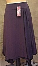 New MONSOON RAISIN Mocha SKIRT Chiffon Asymmetrical HANKY HEM Eur 40~UK 12~US 8