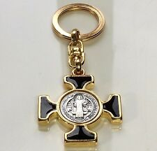 St Benedict Black and Gold Celtic Maltese Keychain Italy