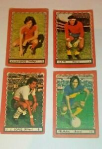 four collectible cards of great Argentine footballers Gatti, J.J López and more
