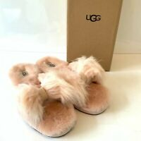 Women's UGG Slippers Pink Fluffy Bow Slip On Size UK 7 8 Mirabelle Boxed