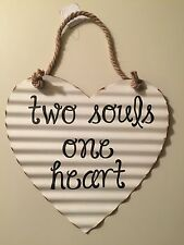 TWO SOULS ONE HEART Corrugated METAL Wall Sign. Unique & Artistic Wall Decor
