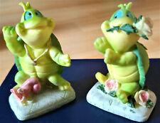 2 figurines statuettes Couple de tortues en résine vintage années 80 Turtle pair