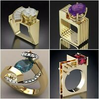Huge 18K Gold Filled Sapphire Women Men's Ring Engagement Wedding Couple Gift
