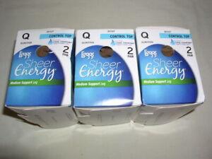 Legg's Sheer Energy Control Top Pantyhose ~ Suntan ~ Large ~ 3 boxes
