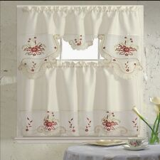 BH Home Floral Embroidered 3-Piece Kitchen Window Curtain Blossom Flower