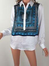 INC INTERNATIONAL CONCEPTS Shirt 8 Blue Button Up White Long Sleeve Womens New