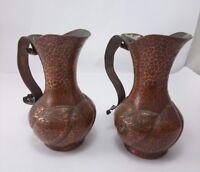 COPPER HAMMERED JUGS Ewers Vintage Handmade Pair Art Hand Beaten Metal Ware