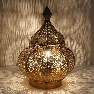 Orientalische Tischlampe Gohar Gold 30cm marokkanische Lampe Nachttischlampe
