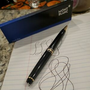 Montblanc Meisterstuck Classique black gold trim resin rollerball pen,2 refills