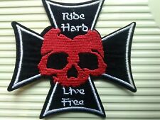 RIDE HARD LIVE FREE BIKER PATCH. SEW OR STICK ON  PATCH