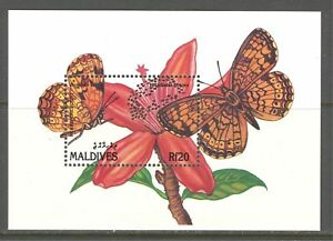 MALDIVES ISLANDS 1991, BUTTERFLIES, Scott 1571 SOUVENIR SHEET, MNH