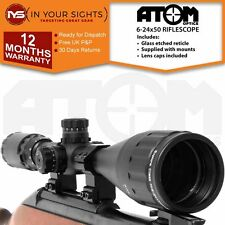 6-24x50 Riflescope. Illuminated Rifle Gun Scope. Shockproof, Green Lens + Mounts