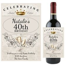 Personalised Happy 18th 21st 30th 40th Birthday Wine Champagne Bottle Label N64