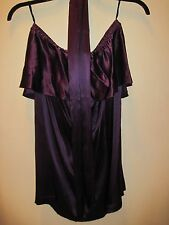 New French Connection FCUK 100% Silk Purple Dress Tunic Belt Sz 6 Free Shipping