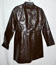 Jennyfer J 1960s Style Dark Brown Faux Leather Womans Coat Size Large