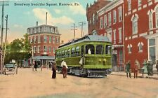 Broadway & Trolley Car in Hanover PA 1914
