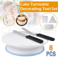11''Cake Decorating Turntable Rotating Stand Comb Icing Smoother Durable Spatula