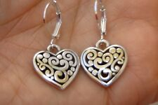 New Altered Brighton Cotempo Silver Heart Charm Lever Back Earrings