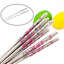 Non-slip Stainless Chopsticks Floral Design Reusable Tableware Stick 5 Pairs/lot