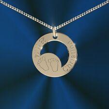Runder Anhänger, Mama-Baby, Silber 925, inkl. Gravur, Namenskette, Initiale