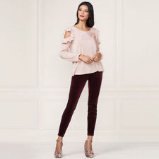 LC Lauren Conrad Runway Collection Women's Pleated Cold-Shoulder Top Large NWT