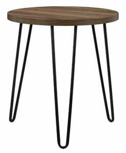 Round Wooden Hairpin legged Side Table Industrial Furniture Housewarming Gift