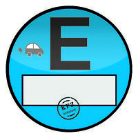E - Plakette Aufkleber Folie Sticker Elektro Sünder Fun Spass Auto Emblem R101