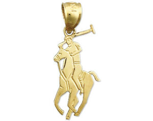 New Real Solid 14K Gold Polo Charm