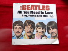 BEATLES~ ALL YOU NEED IS LOVE~ STRAIGHT CUT~ VG+++~BABY YOU'RE A RICH ~ POP 45