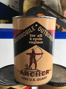 NOS FULL * early 1960's era ARCHER INDIAN SNOWMOBILE OIL Old 1 quart Can